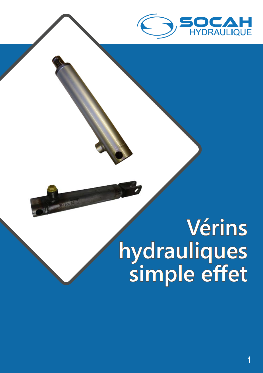 Fiche technique vérins hydrauliques simple effet